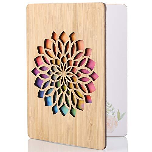Handstehendeigte Beschreibbare Bambuskarte, Premium-Grußkarten aus Bambus und Holz, Handgefertigte Grußkarten, Beste Kreative Geschenkkarten für Valentinstag, Jubiläum, Geburtstag und Hochzeit (Blumen