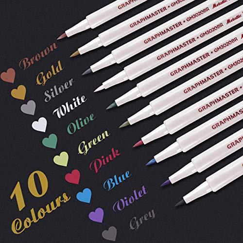 Metallic Stifte Glitzerstifte Satz von 10 Farben Metallic Marker Stifte für Gästebuch Hochzeit Holz Bemalen Schwarzes Papier Scrapbook Fotoalbum Fotobuch Karten Glas Keramik Kunststoff Pinsel Spitze