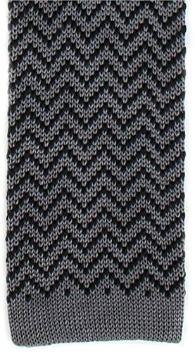 Michelsons of London Charbon/Noir Zig Zag Silk Skinny cravate en tricot de