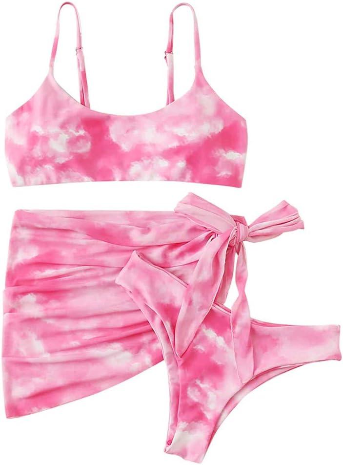 Women's Cheap Bikini Tie-dye Printed Strap Kansas City Mall Swimsuit Three-Piece