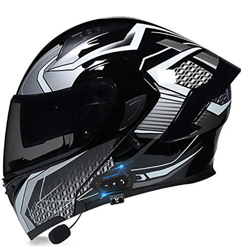 Cascos Inteligentes Bluetooth Con Gafas A Prueba De Viento Y Lentes Integrados,ECE Homologado Para Hombres Y Mujeres Adultos Cascos De Protección Para Motocicleta Scooter H2,L