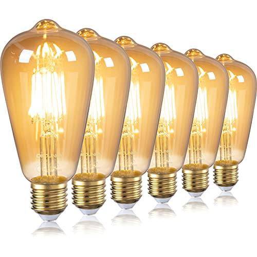 DiCUNO lampadina LED E27 vintage edison ST64, 6W incandescente equivalente 60W, Bianco caldo 2700K, Non dimmerabile, lampadina a vite decorativa in vetro ambrato, 6 Pezzi