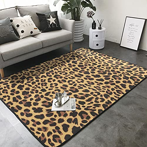 MGBWAPS Alfombra de área con estampado de leopardo amarillo, lavable a máquina, antideslizante, suave, para salón, dormitorio, lavadero, 150 x 200 cm