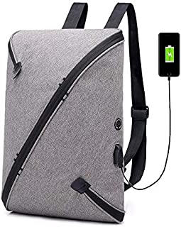 YYuzhongfenM New USB Charging Commuter Anti-Theft Backpack Personality Alternative One-Piece Customized Storage Backpack (Color : Grey)