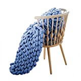 EASTSURE Chunky Knit Blanket Cotton Hand-Made Cute Bed Sofa Throw Machine Washable Super Large Denim Blue 47'x71'