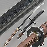 Damascus Folded Steel Katana Naginata Real Combat Ready Japanese Samurai Sword Sharp Edge can Cut Bamboo Trees/A4 Paper Full Tang Blade Knives can be disassemble
