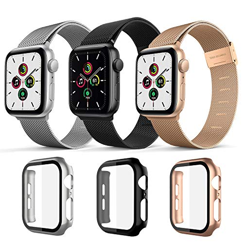 Magnetic Band with Case Compatible for Apple Watch Bands 38mm 40mm 42mm 44mm ,Case Built in Tempered Glass Screen Protector Stainless Steel Mesh Replacement Bands For Iwatch Series 6 44mm 40mm (Silver+Black+Rose Gold, 44mm)