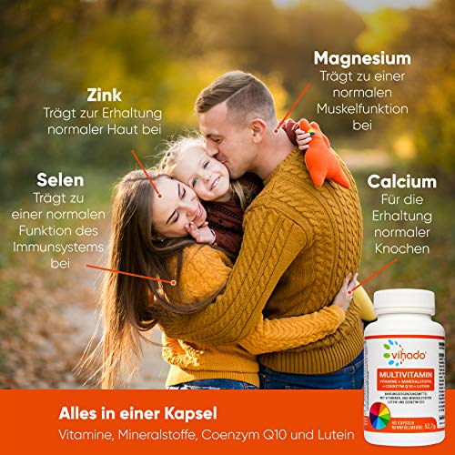 Vihado Multivitamin Tabletten hochdosiert – 26 Vitamine + Mineralstoffe + Q10 + Tagetes Erecta, 60 Kapseln, 1er Pack (1 x 52,7 g) - 8