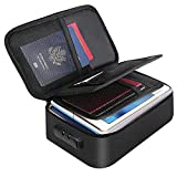 """Small Fireproof Storage Organizer Case with Lock(9.4""""x 5.9""""x 3.2""""), ENGPOW 3-Layer Money Safe Coin Organizer Wallet Bag for Cash,Card,Passport,Check,Bill,Travel Home Organizer Carrying Case,Black"""