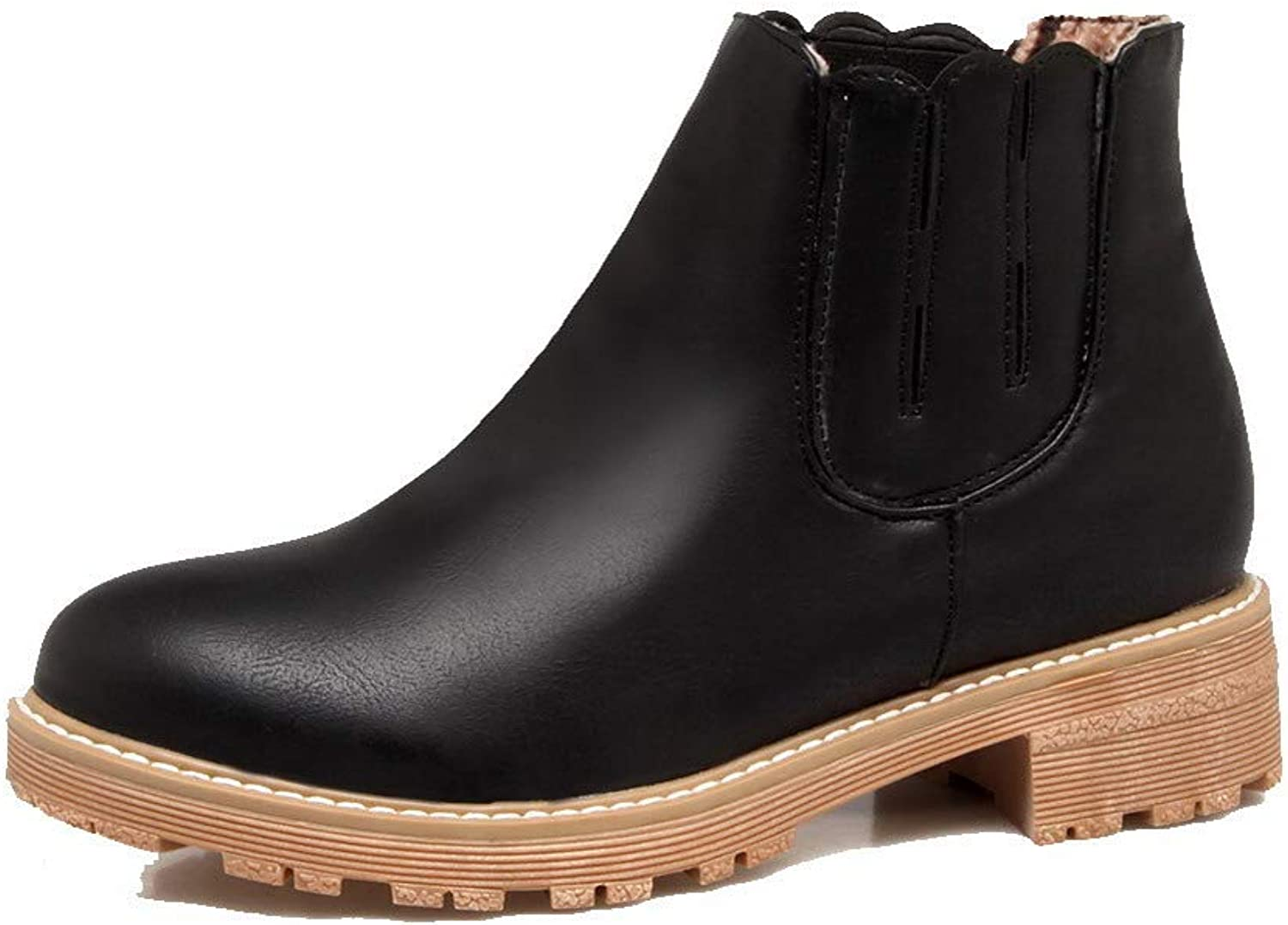 WeenFashion Women's Ankle-High Pull-On Pu Low-Heels Round-Toe Boots, AMGXX115959