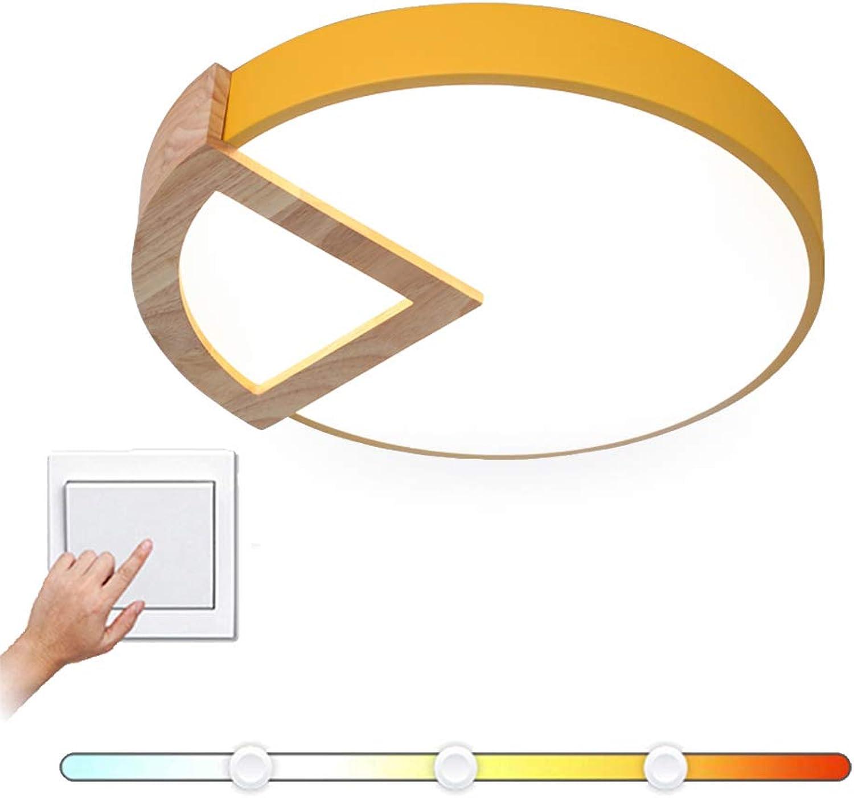 VinDeng Runde LED Acryl Deckenleuchte, 18W Kreativ Deckenlampe Mit Holz Acryl Bunt Pendellampe Für Schlafzimmer Kinderzimmer Flur-Gelb Trichromes Dimmen