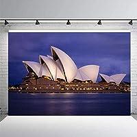 HiYash 9x6ft建築テーマシドニーオペラハウス写真の背景都市の夜のネオンライトオーストラリアのランドマーク建築写真の背景誕生日パーティーの装飾バナーの背景