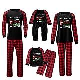 Alueeu Pijamas de Navidad Familia Conjunto Moon Suave y Cómodo Mamá Papá Niños Bebé Manga Larga con Estampado Pijamas Navidenos Familiares riou