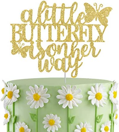 A Little Butterfly is on Her Way Cake Topper Gender Reveal Baby Shower Party Cake Decor Newbaby product image