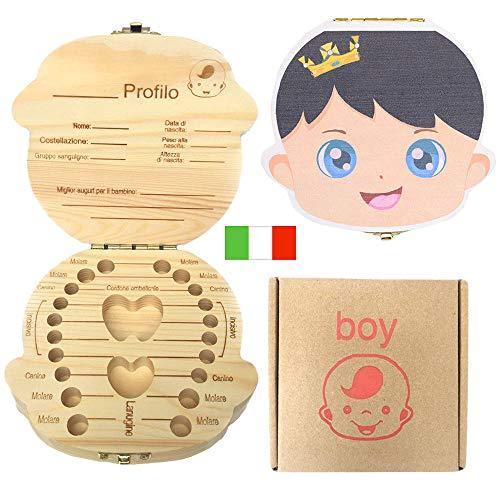 Denti box per bambini, baby Denti Scatola portaoggetti Salva organizzatore scatole di legno personalizzata Decidue souvenir box, Scatola di raccolta dei denti del bambino(Ragazzo di colore)