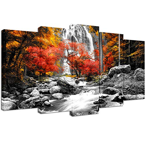 Visual Art Decor Black White Red Canvas Wall Art Autumn Yellow Orange Trees Forest Waterfall Lake Picture Prints for Modern Home Living Room Office Decoration (5 Pieces)