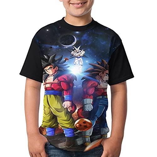 Dragon_Ball_Z - Camiseta de manga corta para niños y niñas con estampado en 3D para niños, Negro, S