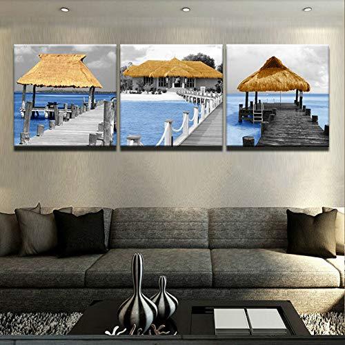 MMLFY 3 canvas foto's 40 cm x 40 cm x 3 stuks modulaire schilderij canvas modern 3 stuks muurkunst lange brug hout paviljoen seascape gedrukt afbeelding voor de woonkamer Ho