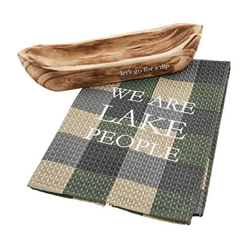 Mud Pie LETS GO CANOE 42300019L - Juego de toallas de madera de PAULOWNIA