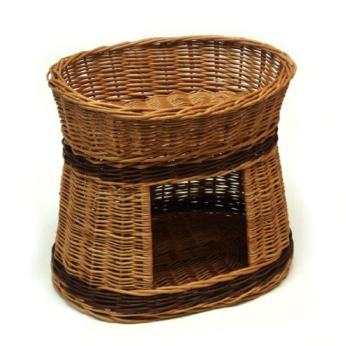 Prestige Wicker Oval Two Tier Pet Bed Basket House