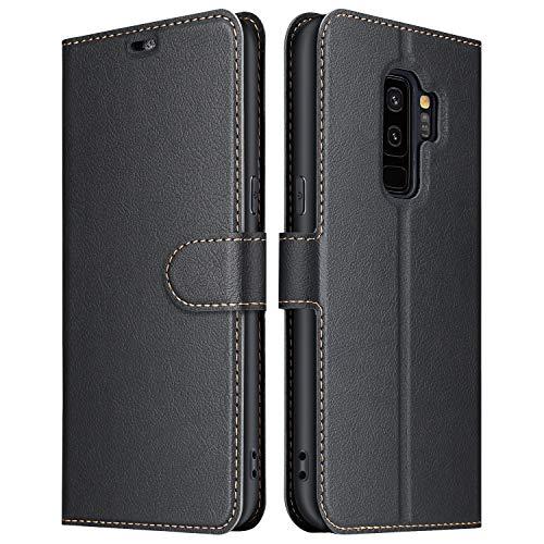 ELESNOW Hülle für Samsung Galaxy S9 Plus, Premium Leder Flip Schutzhülle Tasche Handyhülle mit [ Magnetverschluss, Kartenfach, Standfunktion ] für Galaxy S9 Plus (Schwarz)