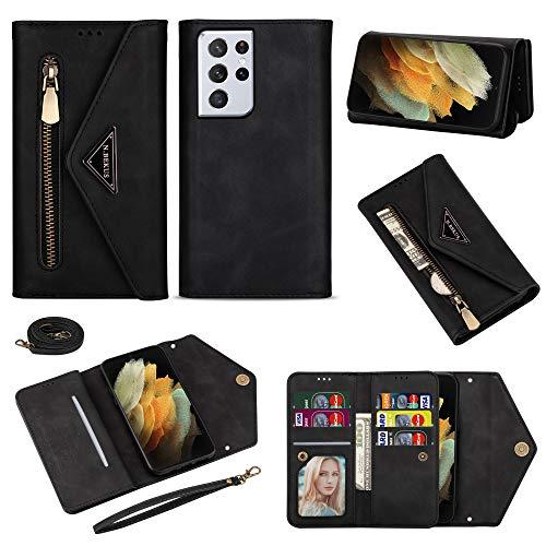 Shinyzone Funda compatible con Samsung Galaxy S21 Ultra, piel sintética, con cremallera, para el teléfono móvil, con tarjetero y cadena, color negro