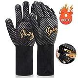 SKEY Grillhandschuhe Ofenhandschuhe Grill Handschuhe zubehör Hitzebeständige bis zu 800 ° C Universalgröße Kochhandschuhe Backhandschuhe für BBQ Kochen Backen und Schweißen-Klassisch...