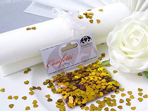 14g Streudeko Konfetti Hochzeit Herz klein Gold metallisch Tischdeko Hochzeit