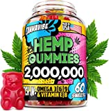 Hemp Gummies - 2 000 000, 60 Sweets - Stress, Insomnia & Anxiety Relief - Made in USA - Tasty & Relaxing Herbal Gummies - Premium Extract - Mood & Immune Support - Omega 3-6-9 Complex