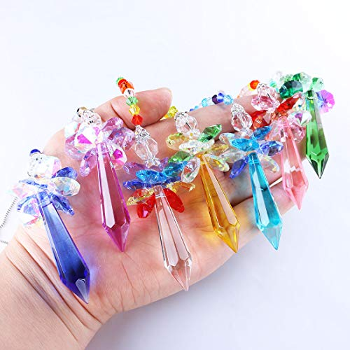 YUFENG Crystal Angels Hanging Crystal Suncatcher Ornament Rainbow Maker for Window,Room or Home Decor,Pack of 7
