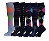 6 Pairs Women Graduated Compression Socks (Assorted Colorful)