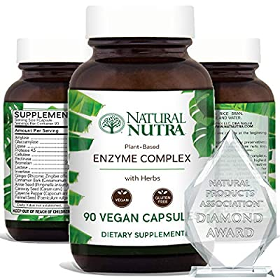 Natural Nutra Plant Based Digestive Enzyme Complex with Herbs, Amylase, Bromelain, Lipase, Protease, Lactase, Plant Based, 90 Vegan Capsules