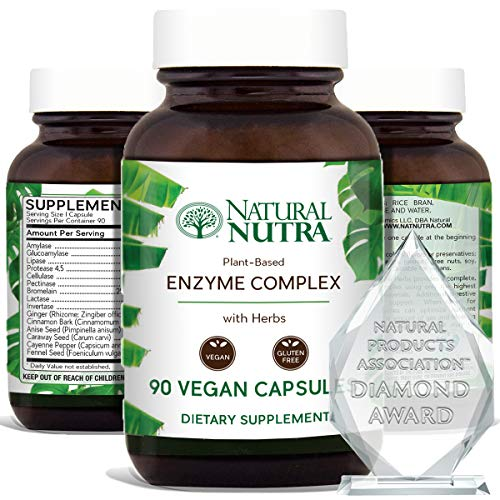 Natural Nutra Plant Based Digestive Enzyme Complex with Herbs, Prevents Stomach, Bloating and Gas Relief, Amylase, Bromelain, Lipase, Protease, Lactase, 90 Vegan Capsules