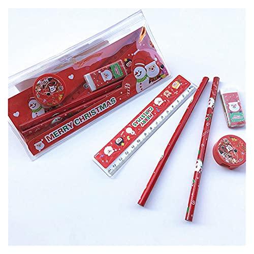 xiangwang 5 unids/paquete lindo Navidad papelería conjunto lápiz regla oído sacapuntas lápiz caso papelería conjunto para la escuela gir niño regalo