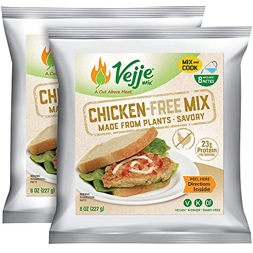 Vejje Meat-Free Mixes - CHICKEN-FREE MIX (2-Pack)(Two 8oz Bags, Each Bag Makes 1.25 lbs for 2.5 lbs Total) Vegan Meat Substitute. Plant-Based Meat Alternative for Sandwiches, Nuggets, BBQ & More