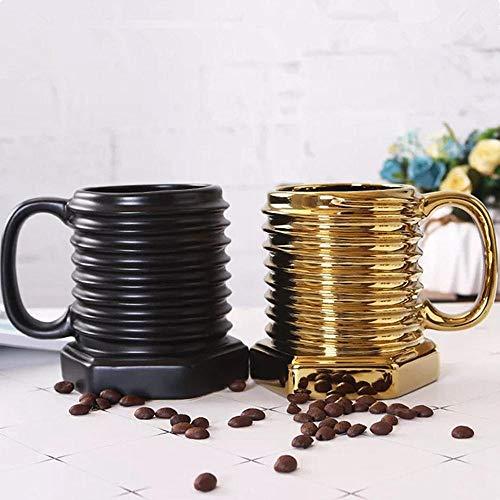 Taza de café de cerámica con forma de tornillo creativa taza de té de leche de desayuno europeo taza de beber regalo 380 ml de oro