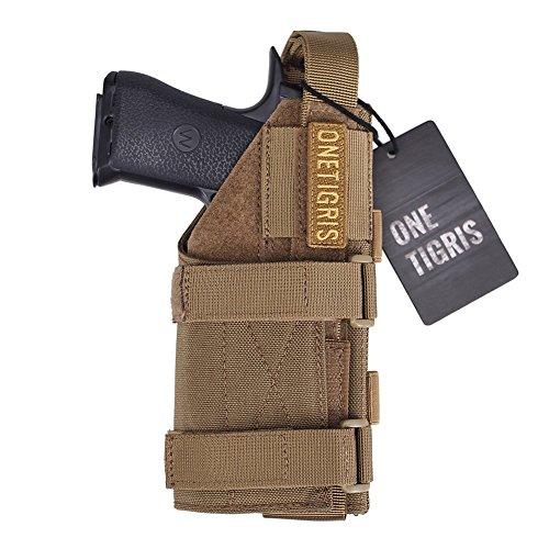 OneTigris 1000D Nylon Taktische Molle Pistolenholster Gürtelholster für Pistolen (Braun ohne Magazintasche)