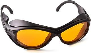 Professional OD 6+ 190nm-490nm Wavelength Violet/Blue Laser Safety Glasses for 405nm, 445nm, 450nm,473nm Laser (Black) (St...