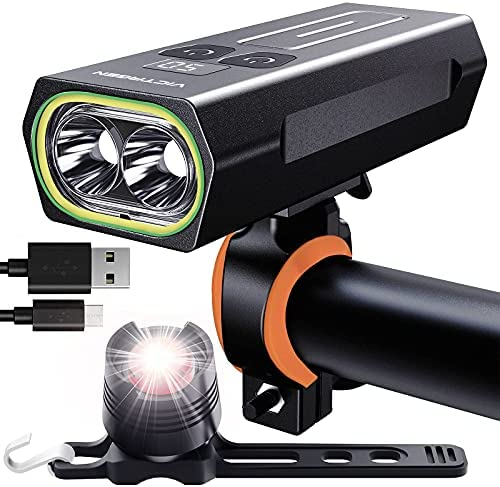 VICTAGEN Bike Lights Front and Rear: Bike Headlight 2021 Newest Rechargeable Super Bright 3 LED, Bicycle Lights for Night Riding USB-C