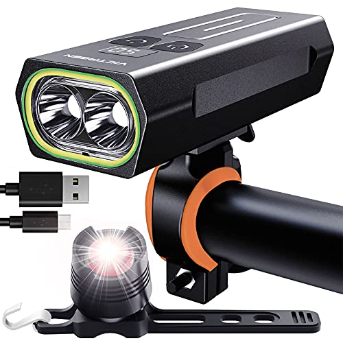 VICTAGEN Bike Lights Front and Back: 2021 New Rechargeable MTB Bicycle Headlights-Tailing Light Set, USB C Waterproof LED Night Riding Lighting Accessories for Men
