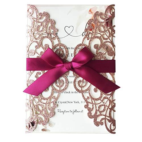 20 pezzi Invito a nozze con pizzo Flora tagliato al laser, con bowknot bordeaux, inviti matrimonio fidanzamento incl Busta (Oro rosa glitter)