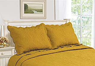 ALL FOR YOU 2-Piece Embroidered Pillow Shams-King Size (King, Gold)