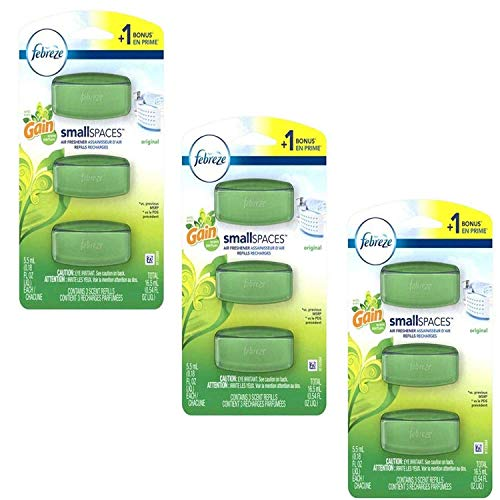 Febreze Small Spaces Original with Gain Scent Air Freshener Refills 0.54 fl. oz. Carded Pack (3 Pack)