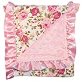 Unique Baby Soft Textured Minky Dot Blanket with Satin Trim, Vintage Floral White