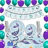 WERNNSAI Meerjungfrau Party Zubehör - Meerjungfrau Party Gefälligkeiten für Mädchen Geburtstagsfeier Dekoration Tischdecke Servietten Teller Tassen Banner & Luftballons 16 Gäste 105 Stück