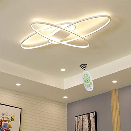 Living Room Led Ceiling Lights Dimmable Light Fixtures Ceiling Flush Mount With Remote Control Ceiling Lighting Modern Chic Oval Design Chandelier For Bedroom Dining Room Kitchen Lamp White Amazon Com