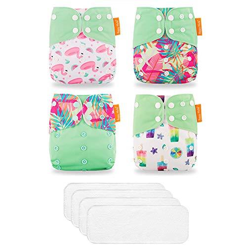 ED-Lumos 4Pcs Grüne Blume Flamingo Wiederverwendbare Baby-Taschenwindeln Stoffwindeln mit 4Pcs Einsätzen für die meisten Babys und Kleinkinder