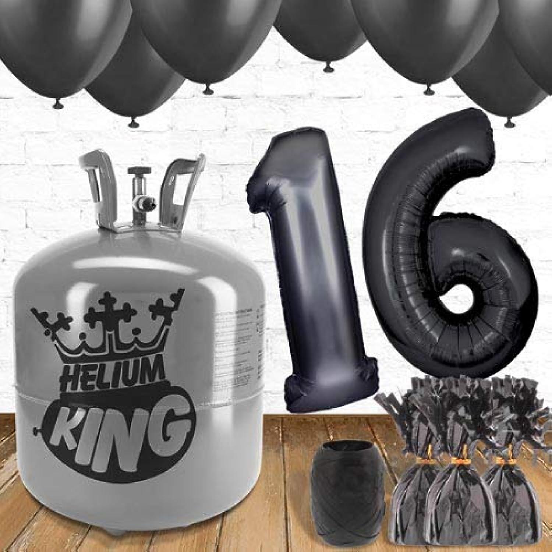 tienda de venta Paquete de globos y gas gas gas helio para 16o cumpleaños, Color negro  hasta 42% de descuento