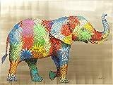 Kare Cuadro Retocado al Óleo, Flower Elefant, Policromo, 90 x 3.5 x 120 cm