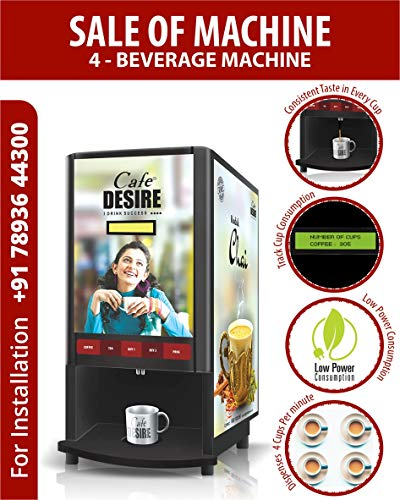 Cafe DESIRE I DRINK SUCCESS Coffee Machine 4 Lane | Fully Automatic Tea & Coffee Vending Machine | For Offices, Shops and Smart Homes | Make 4 Varieties of Coffee Tea with Premix | No Milk Required